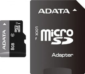 A-Data Premier microSDHC 8GB Class 10 ar SD adapteris