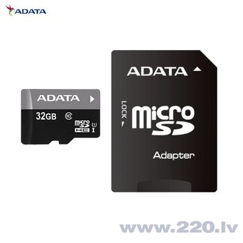 A-Data Premier microSDHC 32GB Class 10 ar SD adapteris cena un informācija | A-Data Premier microSDHC 32GB Class 10 ar SD adapteris | 220.lv