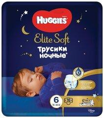 Autiņbiksītes-biksītes Huggies Elite Soft Night Pants 6 (15-25 kg), 16 gab. cena un informācija | Autiņbiksītes-biksītes Huggies Elite Soft Night Pants 6 (15-25 kg), 16 gab. | 220.lv