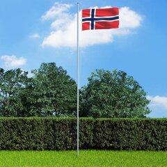 vidaXL Norvēģijas karogs un karoga masts, alumīnijs, 6,2 m cena un informācija | Karogi un aksesuāri | 220.lv