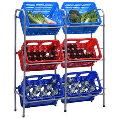 vidaXL uzglabāšanas plaukts 6 kastēm, sudraba krāsa, 96x33x116 cm cena un informācija | Saimniecības plaukti | 220.lv